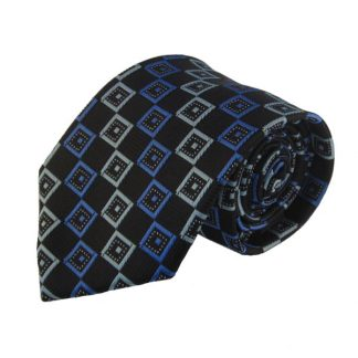 Grey, & White Criss Cross Men's Tie w/ Pocket Square 11008