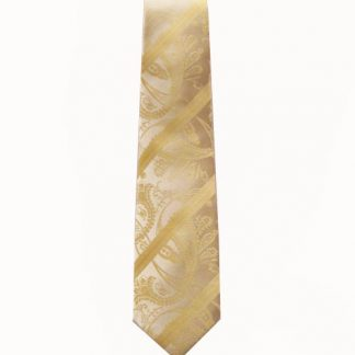 "49"" Boy's Self Tie Light Yellow Tone on Tone Paisley Tie 1029-0"