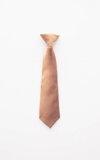 "11"" Boy's Clip-On Orange/Gray Zig Zag Pattern Tie 1698-0"