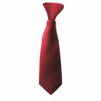 "8"" Boy's Clip-On Red Solid Tone on Tone Rectangles Tie 1787-0"