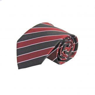 Burgundy, Black, White Stripe Men's Tie 2074-0