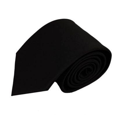 Black Solid Men's Tie w/ Pocket Square 11226