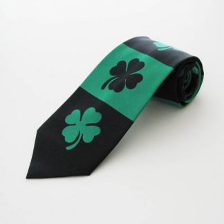 Big Shamrocks on Black, Green Stripe Men's Tie 6088-0