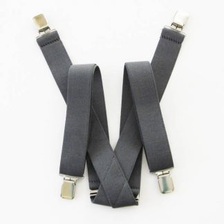Gray Solid Suspenders 2047-0