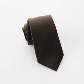 Brown Solid Skinny Men's Microfiber Tie 7073-0