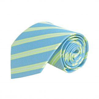 "63"" XL French Blue, Green Stripe Men's Tie 2065-0"