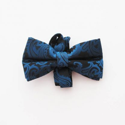 Cobalt Blue Paisley on Black Band Bow Tie 3625-0
