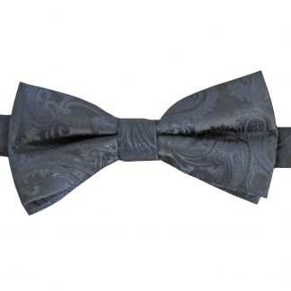 Charcoal Tone on Tone Paisley Band Bow Tie 7498-0