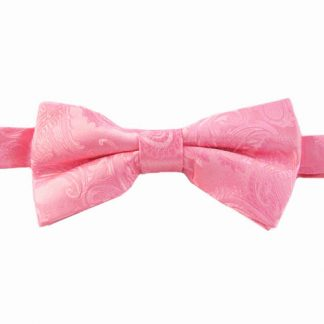 Rose Pink Paisley Banded Bow Tie 8644-0
