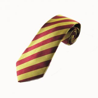 "49"" Boy's Self Tie Burgundy/Gold Stripe Tie 0894-0"