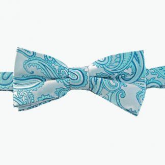 Turquoise Paisley Banded Bow Tie 9607-0