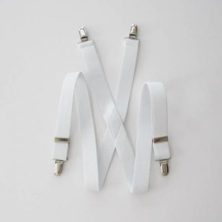 "White Solid 1 x 30"" Kids Suspenders 3822-0"