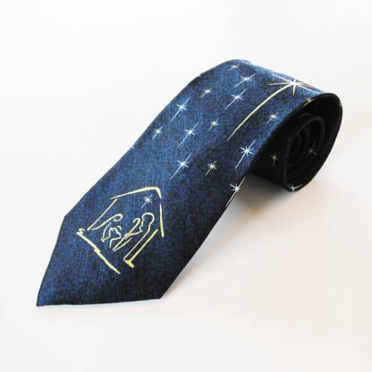 Nativity Scene Star Blue Christmas Silk Men's Tie 4035-0
