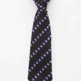 "8"" Boy's Clip-On Purple/Black Squares Tie 3835-0"