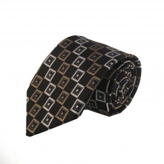 Taupe and Black Diamond Men's Tie