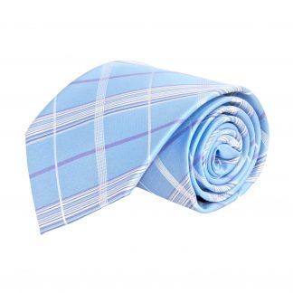 Light Blue, Purple Plaid Men's Tie 1100-0
