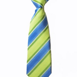 "8"" Boy's Clip-On Lime, Blue Stripe Tie 1712-0"