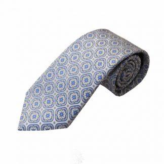 Blue, Cream, Gray Medallion Men's Tie 3353-0