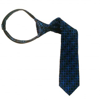 "14"" Black w/ Royal Blue Square Pattern Boy's Zipper Tie 3536"