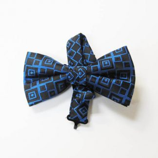 Royal Blue, Black Square Band Bow Tie 4068-0