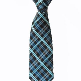 "8"" Boy's Clip-On Black, Turquoise Plaid Tie 4176-0"