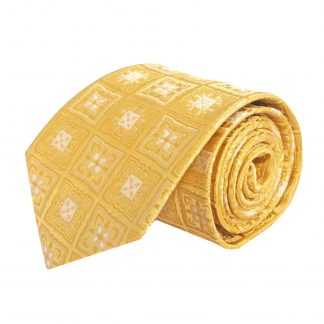 Yellow Squares Medallion Silk Men's Tie 5012-0