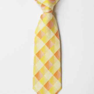 "8"" Boy's Clip-On Yellow, Orange Squares Tie 6543-0"
