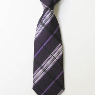 "8"" Boy's Clip-On Eggplant Purple Plaid Tie 7772-0"