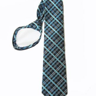 "21"" Men's Black, Turquoise Plaid Zipper Tie 7834-0"