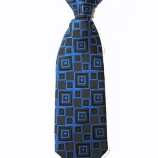 "8"" Boy's Clip-On Royal Blue, Black Squares Tie 7883-0"