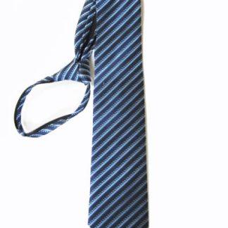 "23"" XL Men's Navy Blue, Light Blue Stripe Zipper Tie 7942-0"