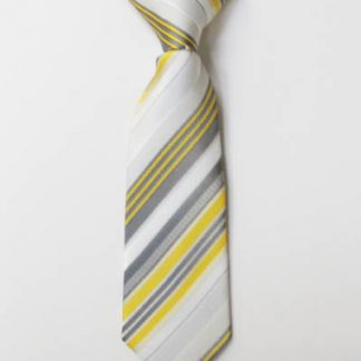 "8"" Boy's Clip-On Yellow, Gray Stripe Tie 8686-0"