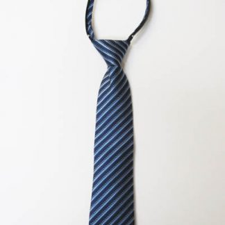 "14"" Boy's Zipper Tie Navy Blue, Light Blue Stripe 8995-0"