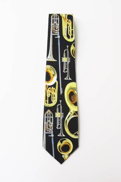 Brass Instruments Men's Tie Trumpet, Tuba, Trombone 9080-0