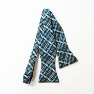 Black, Turquoise Plaid Self Tie Bow Tie 9738-0