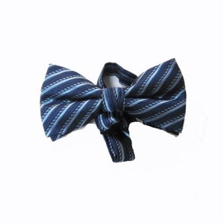 Navy Blue, Light Blue Stripe Band Bow Tie 9741-0
