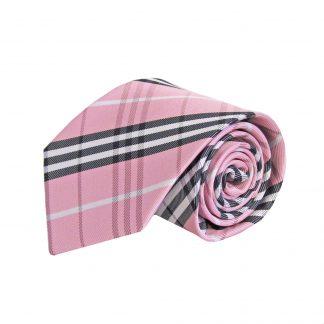Pink, Black, White Plaid Men's Tie 1018-0