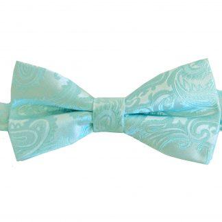 Aqua Paisley Banded Bow Tie 10666-0