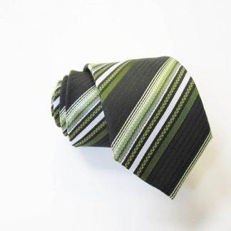 "49"" Boy's Self Tie Green, Black, White Stripe Tie 2978-0"