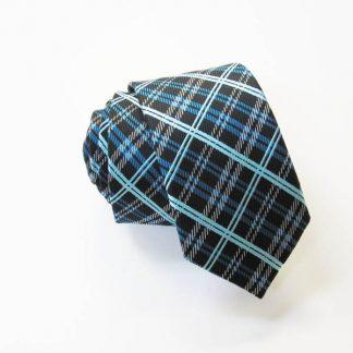 Black, Turquoise Small Plaid Skinny Tie 8687-0