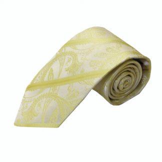 """63"""" XL Light Yellow Paisley Stripe Tone on Tone Men's Tie 9046-0"""