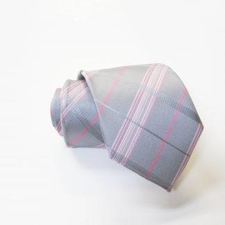 "49"" Boy's Self Tie Silver, Pink Plaid Tie 2988-0"