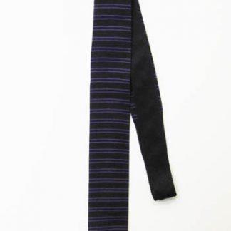 Black, Purple Horizontal Stripe Knit Skinny Tie 3490-0