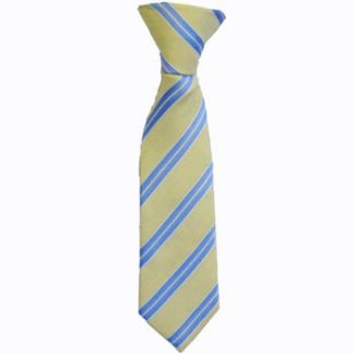 "Boy's 8"" Clip On Light Yellow, Light Blue and White Stripe Tie 6559-0"