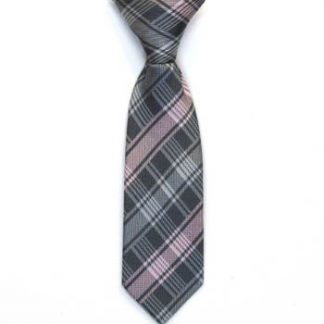 "8"" Boy's Clip-On Pink, Gray Plaid 5476-0"