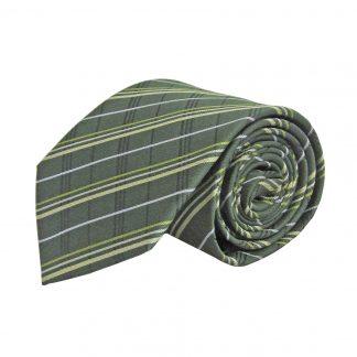 Hunter Green, Olive, Taupe, Black Plaid Men's Tie 8976-0