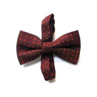 Burgundy, Red Dot Band Bow Tie 4062-0