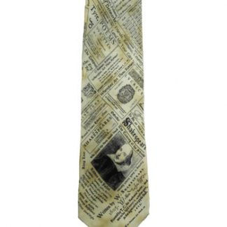 William Shakespeare Tan, Black Silk Men's Tie 5045-0