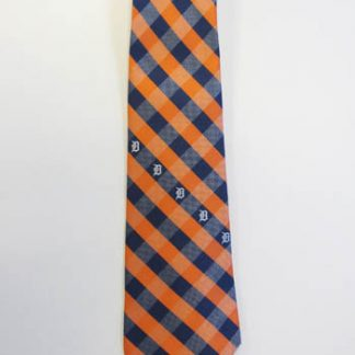 MLB Detroit Tigers Orange, Navy Plaid Men's Tie 11034-0