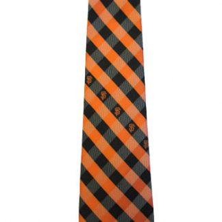 MLB San Francisco Giants Orange, Black Plaid Men's Tie 1985-0